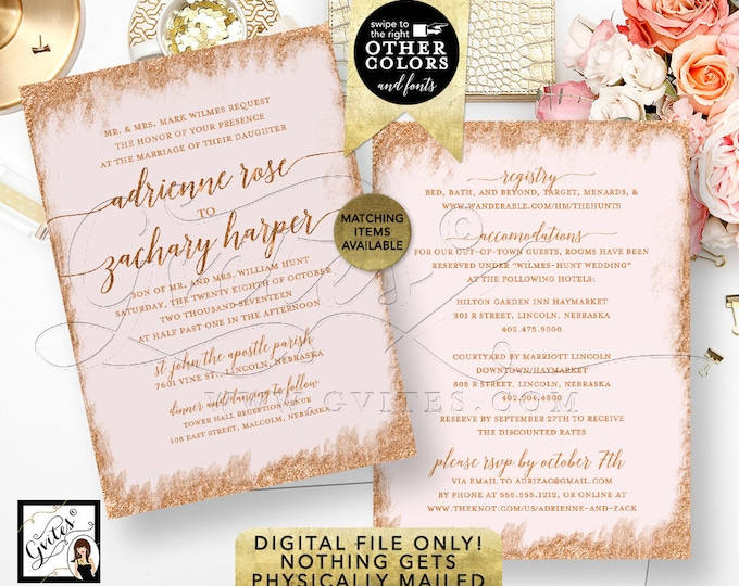"Rose Gold and Pink Wedding Invitation Printable Invitations Bridal, Glitter Invite Modern, Blush Calligraphy Font 5x7"" Double Sided"