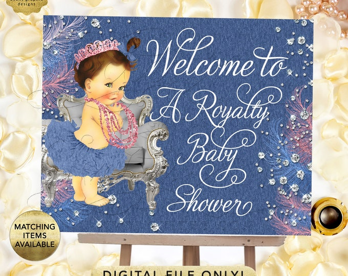 Denim and Diamonds Welcome Sign Baby Shower, Vintage Baby Girl. Pink Blue and Silver. Digital File Only!