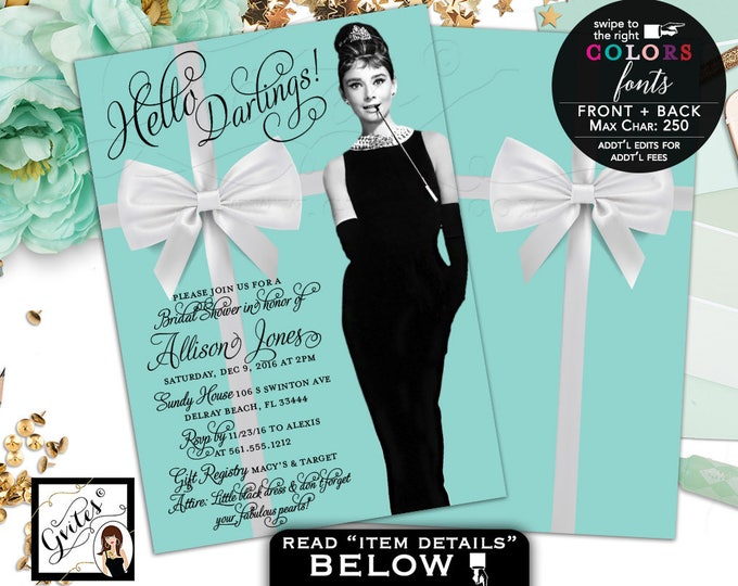Breakfast at Invitations, Audrey Hepburn Bridal Shower invitation, little black dress, 5x7 double sided. Digital File Only!