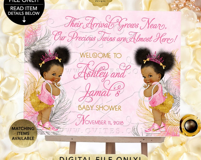 Pink Gold and Silver Twin Baby Shower Welcome Sign, Princess Decor, Vintage Girl African American Afro Puffs {Pink/Silver/Gold Feathers}
