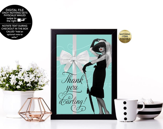 "Thank You Darling Signs Audrey Hepburn Customizable, Bridal Shower Blue DecorationsParty Supplies,Printable Decor, {4x6"" or 5x7""}"