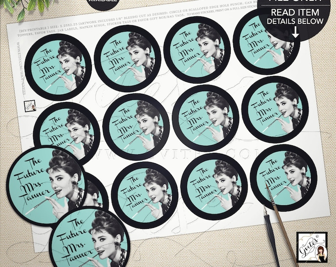 "Audrey Hepburn Printable Popcorn Stickers Party Breakfast at decor tags, stickers, toppers, 2.25x2.25"" 12/Per Sheet, Gvites"