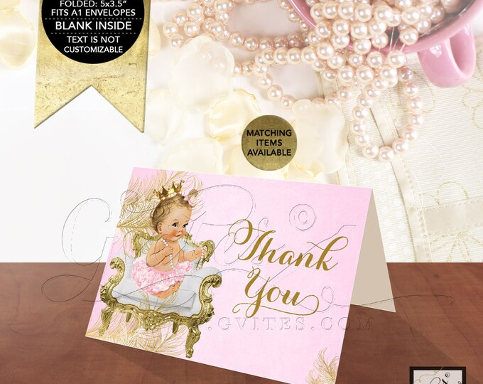 "Pink & Gold Thank You Card Princess Baby Shower, Greeting Card Folded Blank Inside, Ribbons Bows 5x3.5"" 2/Per Sheet.{White/Gold Feathers}"