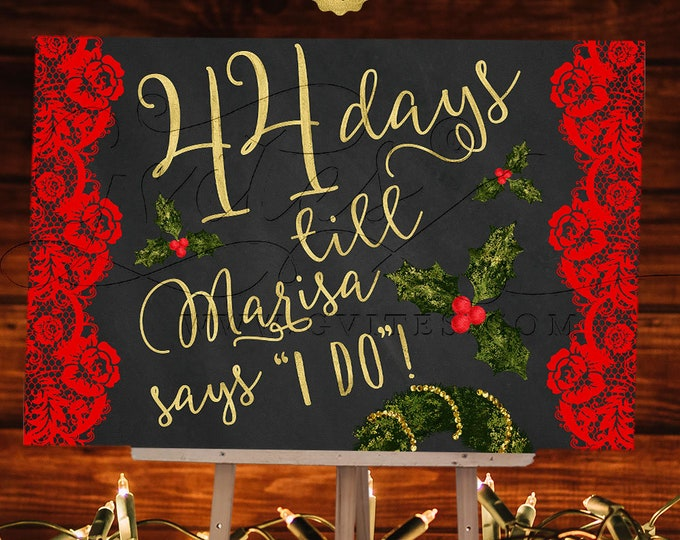 Countdown Bridal Shower Sign, Chalkboard Printable Poster, Holiday, Wedding Signs, Xmas Decorations, Decor, DIY, Digital, JPG + PDF.