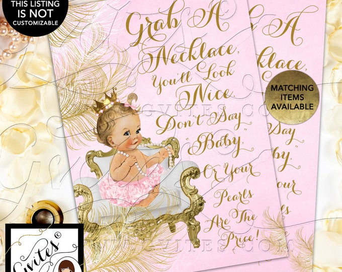"INSTANT DOWNLOAD - Don't Say Baby Pearl Game Princess Baby Shower Vintage, 5x7"" {Baby/Caucasian Light/Blonde~~White/Gold Feathers}"