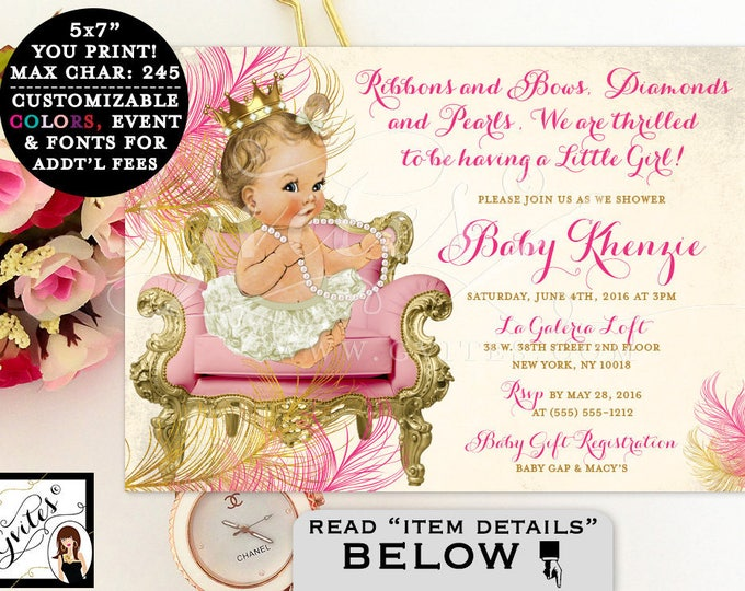 Pink and gold baby shower invitation, princess baby shower, royal pink and gold, vintage ribbons bows, diamonds and pearls. Gvites
