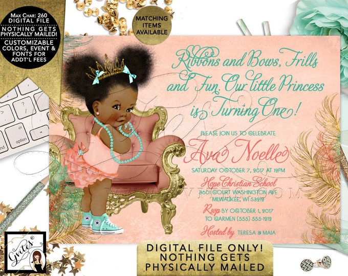African American Baby, Coral Mint Green,  Birthday Princess, Gold Tiara, Peach Gold, Ribbons Bows Frills Fun, turning one, puffs, 7x5 Gvites