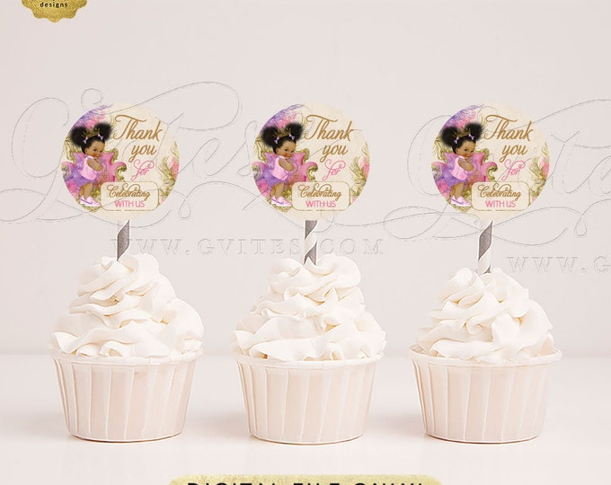 """Cupcake Toppers Baby Shower Party Table Decorations, Vintage Baby Girl Afro Puffs Princess. 2x2"""" 12/Per Sheet. Digital Only!"""