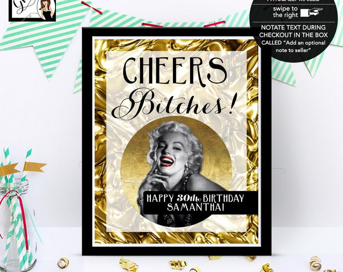 30th Marilyn Monroe Party Signs, Old Hollywood Style Party Sign, Gatsby, black gold, happy birthday, Customizable ANY BDay.