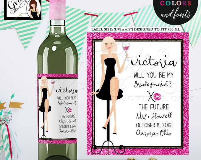 "Wine Label Bridesmaid Bottle, pink black gold glitter, will you be my bridesmaid printable labels favors gifts. {3.75x4.5""/4 Per Sheet}"