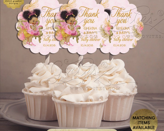 """Pink Gold Cupcake Toppers Baby Shower Princess Afro Puffs   {Design: TIACH-110} By Gvites   2.5x2.5""""/9 Per Sheet {Avery® 08218}"""