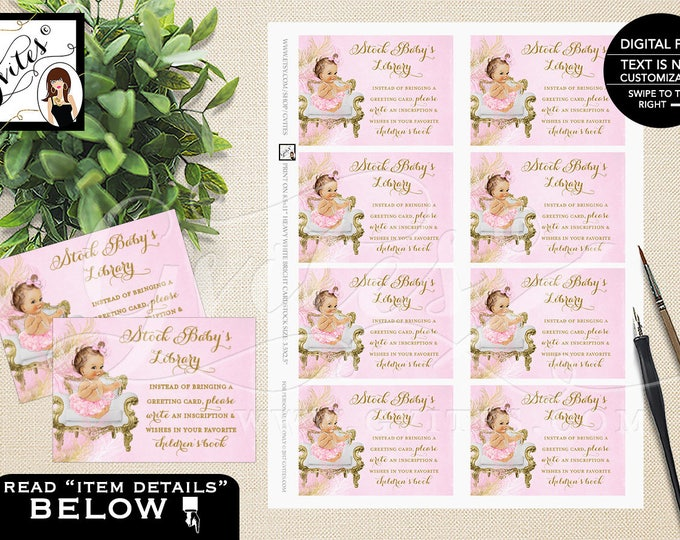 "Book Request Pink and Gold Baby Shower, Stock Baby's Library Inserts, Printable, Digital, DIY, 3.5x2.5"" 8/Sheet. {Gold/White/Pink Feathers}"