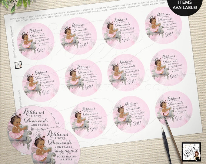 "Pink and Silver circle labels or tags, baby shower baby girl, labels party favors  2x2"" 12/Per Sheet. {Feathers: Silver/White/Pink Crown}"