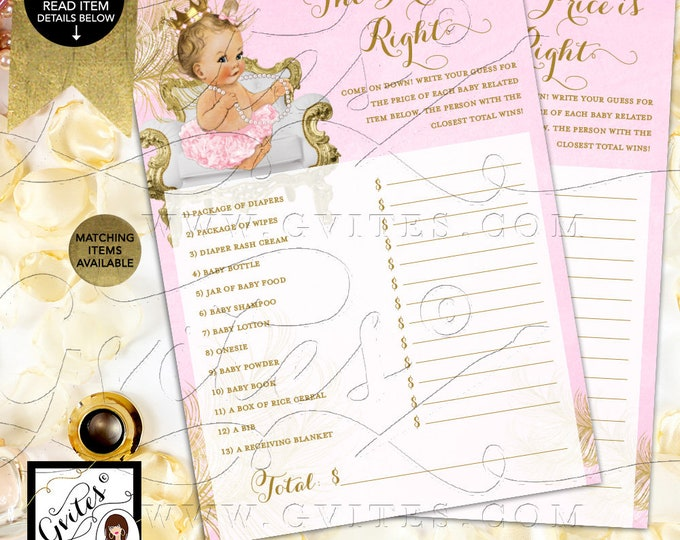"The Price is Right Pink and Gold Cards Princess Baby Shower, Digital Game Girl Vintage, Printable 5x7"" 2/Per Sheet {White/Gold Feathers}"