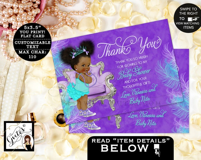 "Thank You Cards Purple Lavender Aqua Turquoise Blue, Princess Baby Shower, Afro Puffs African American Vintage Gvites. {5x3.5"" 4 Per/Sheet}"
