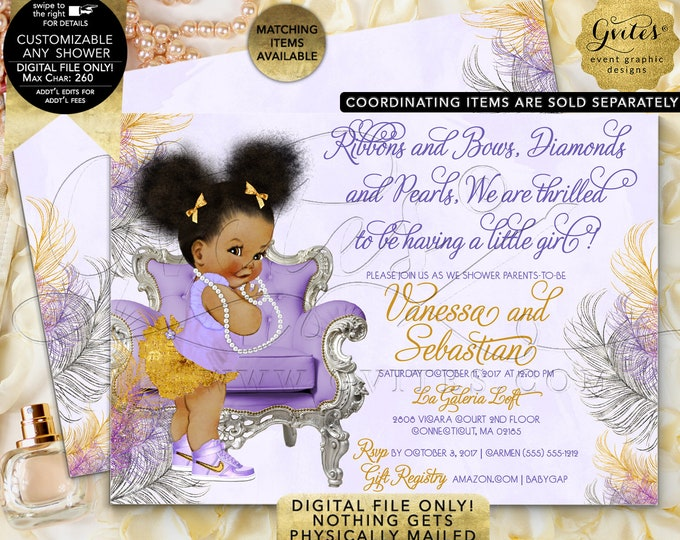 "Purple gold baby showeR lavender silver invitations, afro puffs baby girl, vintage ribbons bows diamonds pearls, 7x5"" Gvites"