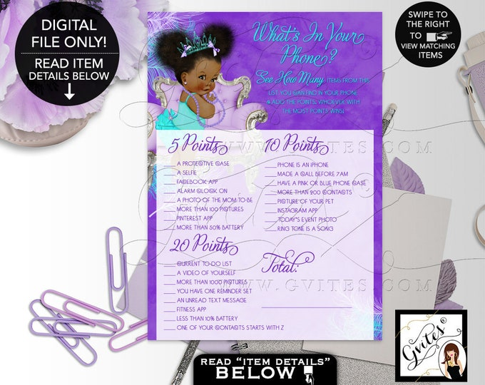 "What's in your phone Baby Shower Game, Purple Lavender Aqua Turquoise, Tiara Princess, Afro Puffs Girl 7x5"" 2 Per Sheet  {Instant Download}"