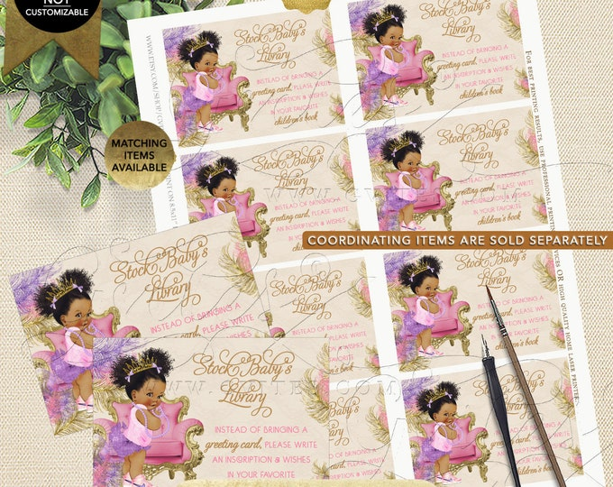 Book For Baby Pink Purple Gold | Dark Puffs/Curly | Instant Download JPG + PDF | Design: TIACH-120