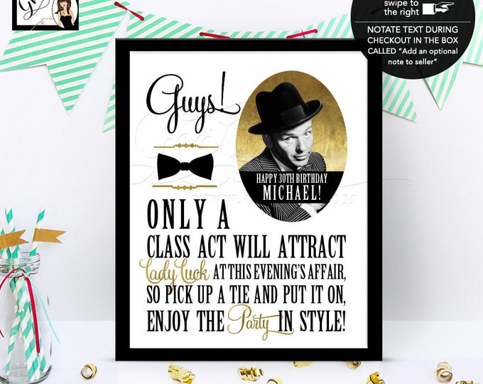 Frank Sinatra, rat pack, CUSTOMIZABLE party signs, old hollywood style, black and gold, PRINTABLE 8x10