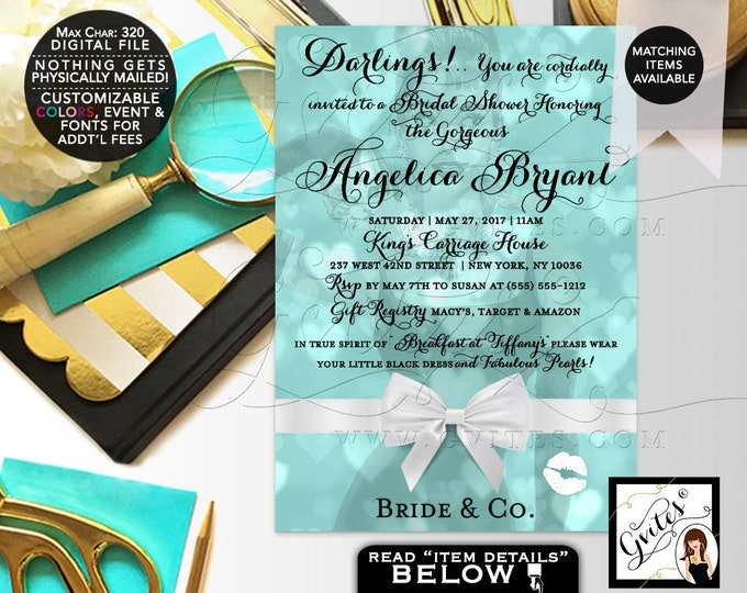 Breakfast Bridal Shower Invitation, Audrey Hepburn inspired party themed, darlings, little black dress, diamonds and pearls, DIY, DIGITAL