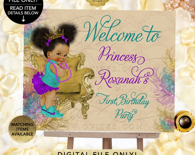 Welcome First Birthday Baby Signs Teal Purple and Gold, Afro Puffs Princess Gold Tiara, Peacock Beige, Printable. Digital File Only!