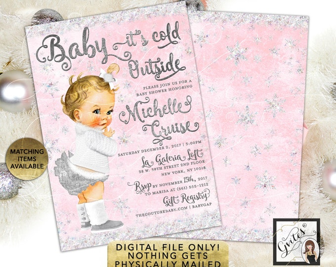 Pink & Silver Baby it's Cold Outside Invitations, Winter Wonderland 5x7 double sided. Gvites