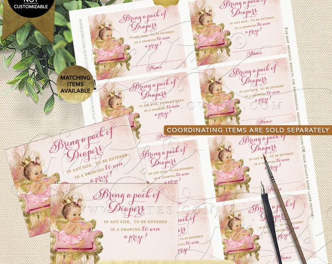 "Diaper Raffle Tickets Blush Pink Gold Royal Princess Baby Shower Vintage Diamonds Pearls | Light/Brunette 3.5x2.5"" 8/Sheet Design: CWCHS-101"