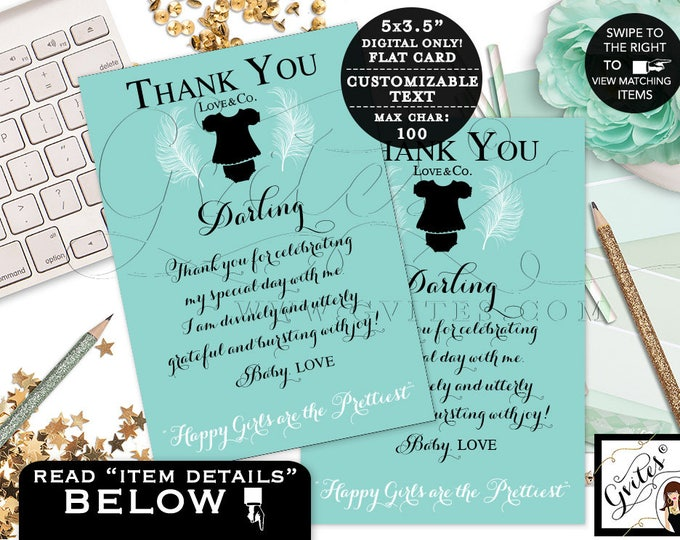 "Baby and Co thank you cards, baby shower thank you printable note cards, greeting cards, turquoise blue baby girl. {3.5x5"" 4 Per/Sheet}"