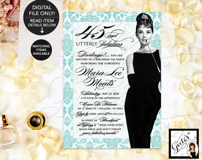 45th Birthday Invitation Audrey Hepburn Printable, Breakfast at, blue and white, little black dress, diamonds pearls, DIY, Digital, 5x7""