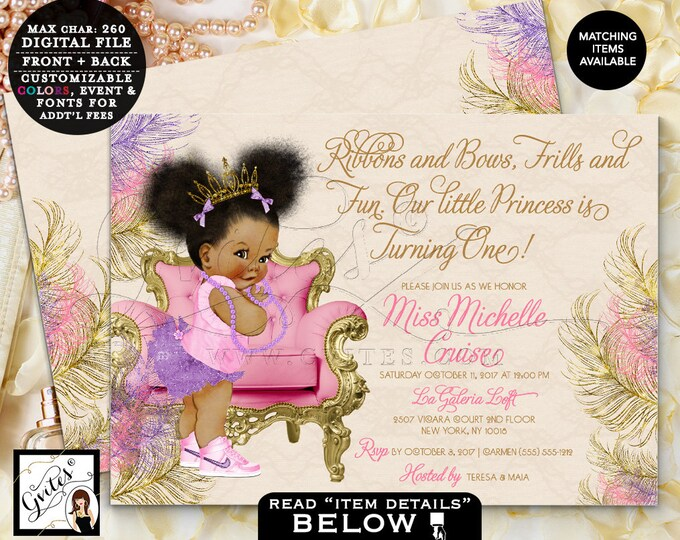 """First Birthday Invitation Purple Pink and Gold, Pearls African American Baby, Princess Tiara DIGITAL,7x5"""" Double Sided. puffy afro. Gvites."""