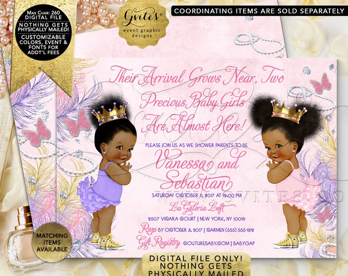 """Twin Baby Shower Invitation, Diamonds and Pearls Princess. Pink, Gold, Purple, Lavender. Digital File Only! 7x5"""" JPG + PDF"""