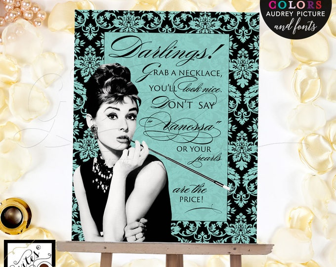 Personalized Bride's Name Grab a necklace game sign, Audrey Hepburn theme, turquoise blue, breakfast at bridal shower games, 8x10