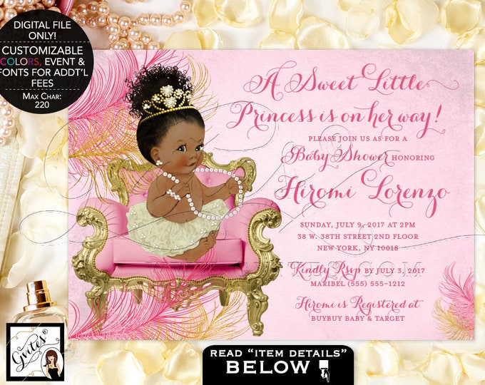 Pink Ivory and Gold Baby Shower Princess Invitation, African American Baby Girl Vintage, Afro Bun Tiara Gems, Pearls, Printable, DIY, Gvites