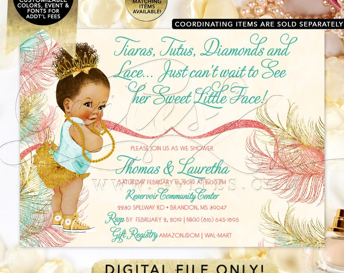 Coral Mint & Gold Baby Shower Invitation | African American | Printable Digital File | Tiaras Tutus Diamonds Lace | 7x5 | JPG + PDF | Gvites