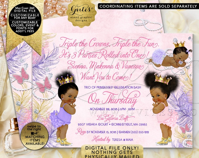 "Triple Birthday Invitations, Diamonds Pearls Princess Themed. Pink, Gold, Purple, Lavender. Printable. Digital File Only! 7x5"" JPG + PDF"