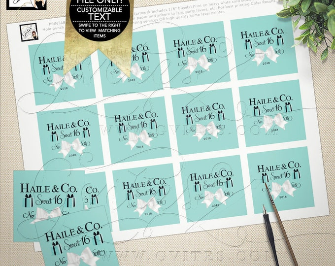 """Sweet 16 Tags Favors and Gifts. Labels Stickers. Customizable Text, colors and fonts. Digital File Only! {2x2"""" 12 Per Sheet}"""