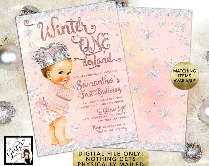 First Baby Girl Birthday, Winter Wonderland Vintage Invitations,  Snowflake princess digital, 5x7 double sided, 5x7, Gvites