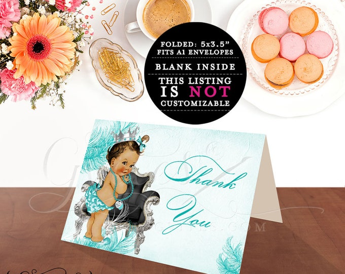 """Breakfast at baby shower co blue thank you cards, inspired party, princess African American printable baby note cards. 5x3.5"""" 2/Per Sheet."""
