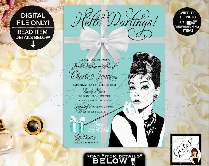 Audrey Hepburn Bridal Shower Printable Invitation, Breakfast at and Co themed wedding shower, 5x7, Digital File, Gvites