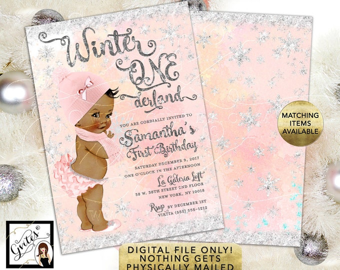 """Winter ONEderaland 1st Birthday Invitation - Blush Pink and Silver Watercolor Digital Background Silver Snow Flakes, 5x7"""" Double Sided."""