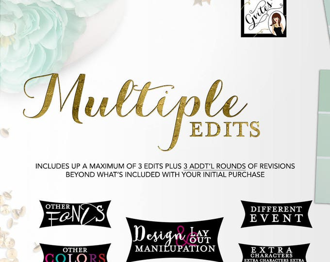 Multiple Edit - This listing is for event/layout/and or additional changes on a digital item not included with a particular design.