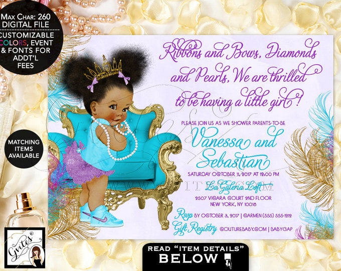 Turquoise Purple & Gold Baby Shower Invitation, African American baby girl tiara, princess, ribbons bows diamonds pearls. Afro Puffs. Gvites