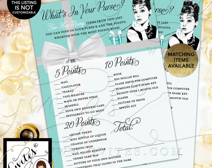 "What's in your purse Audrey Hepburn Bridal Shower Game Cards | Printable Digital File | JPG + PDF | Instant Download | 5x7"" 2/Per Sheet"
