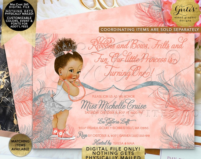 "Coral First Birthday Invitation | Afro Puffs Vintage | Printable Digital File | JPG + PDF | 7x5"" Double Sided"