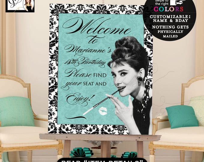 Welcome birthday signs, breakfast at blue and co themed, Audrey Hepburn party supplies, digital signs, customizable, welcome 18th birthday.