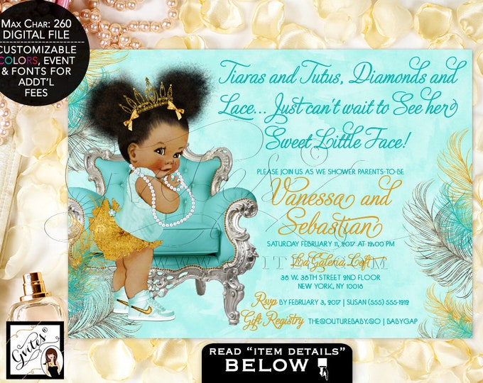 Turquoise Blue Silver & Gold Princess Baby Shower Invitation, Vintage African American Invitations, Tiara 7x5 Afro Puffs. Gvites