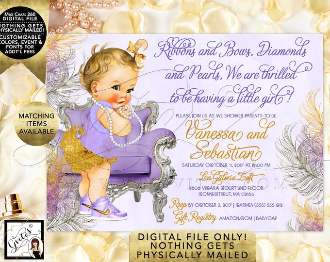"Lavender Gold and Silver Baby Shower Invitations, Ribbons and Bows Diamonds and Pearls. Vintage Baby Girl. Printable, 7x5"" Digital File Only"
