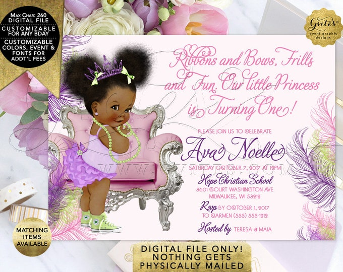 1st First Party Princess, African American, Afro Puffs Ribbons Bows Frills Fun, Pink Purple and Lime Green Birthday Invitation,Digital, 7x5""