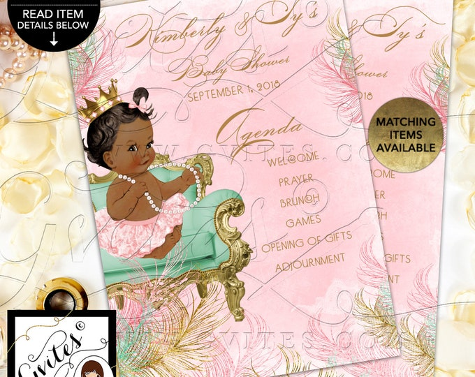 Baby Shower Program Agenda Cards Personalized Pink Mint Green and Gold, Princess Vintage Baby Girl | Design: CWCHS-119 By Gvites