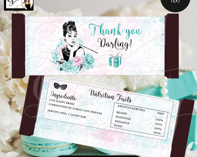 "Audrey Hepburn Candy bar wrappers, blue theme decorations, labels decor, breakfast at and co favors gifts, {2 Per/Sheet 5.25 x 5.75""}"